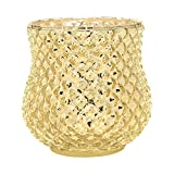 Luna Bazaar Home Decorative Accents Gold Mercury Glass Vase Large Diamond Design