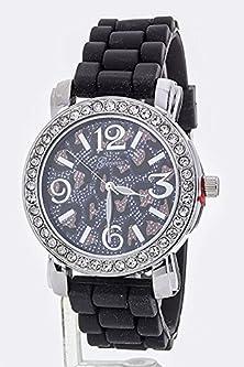 buy Karmas Canvas Jumbo Metallic Leopard Print Fashion Watch (Black/Rhodium)
