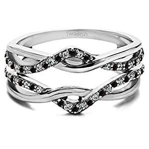 0.23 ct. Black And White Diamonds Black And White Diamond Criss Cross Infinity Ring Guard Enhancer in Silver (1/4 ct. twt.)