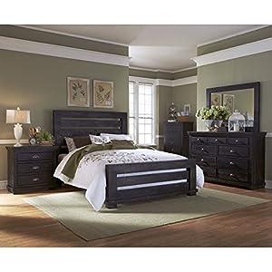willow slat bedroom set distressed black king