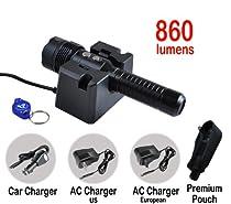 Bundle: Fenix RC15 860 Lumen LED Rechargeable Police Tactical Flashlight: Bonus LumenTac(TM) Premium Duty Light Pouch and with AC & Car Chargers