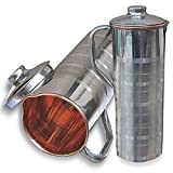Prisha India Copper Fridge Bottle Drinkware Tableware Jug For Ayurveda Healing - Set Of 2 Best Quality