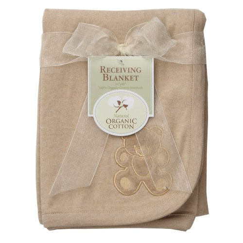 American Baby Company Organic Embroidered Receiving Blanket, Mocha - 1