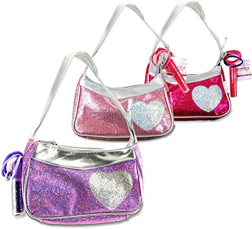 Expressions Girl / Heart Handbag with Accessories, 1 Assorted Pink, Fuschia, or Purple - 1
