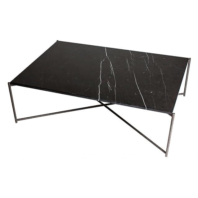 Gillmore Space Tavolino rettangolare in marmo nero con pistola metallo base a croce