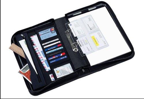 Dokumentenmappe Ringbuchmappe Konferenzmappe Aktenmappe Ringbuchordner DIN A4 schwarz/blau 121