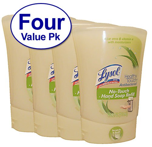 Lysol No-Touch Hand Soap Refill, 8.5 Fl Oz, Aloe Vera & Vitamin E Scent, 4 Count