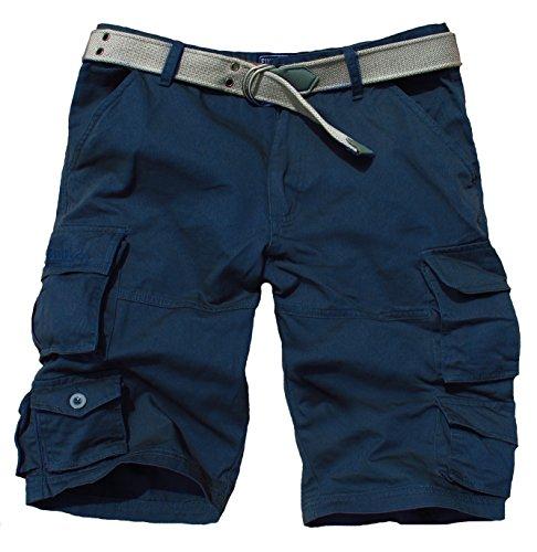Fun Coolo Pantaloncini corti Bermuda Cargo short con tasconi laterali, con cintura blu navy XXL 54