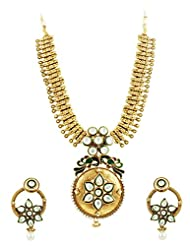 Gold Plated Kundan Necklace Set With Peacock Design