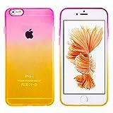 (モアクリスタル)MORE CRYSTAL iPhone6 / iPhone6s (4.7インチ)用 グラデーションケース [衝撃吸収 超薄型 安心交換保証] クリア ソフト シリコン ケース カバー ソフトケース ソフトカバー シリコンケース シリコンカバー クリアケース クリアカバー バンパー 人気 おしゃれ 防水ケース アイフォン6 アイフォン6s イエロー ピンク a058 16IE7-2-CLR