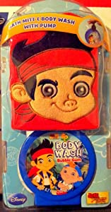 Official Disney Jake & the Neverland Pirates Bath Mitt & Body Wash Gift Set with Pump and Design Bath Mitt for Children by MZB Accessories