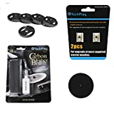 TechPlay Turntable Essentials, 2pack of diamond tipped upgrade needles, Anti Static Carbon Fiber record cleaner, stylus cleaner, pack of 5 45RPM adaptor and full size 11.5