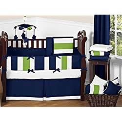Sweet Jojo Designs Navy Blue and Lime Green Stripe Baby Boy Bedding 9 Piece Crib Set