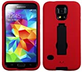 myLife (TM) Vibrant Red and Shocking Midnight Black - Shock Suit Survivor Series (Built in Kickstand + Easy Grip Silicone) 3 Piece + 2 Layer Case for NEW Galaxy S5 (5g) Smartphone By Samsung (External Flex Silicone Bumper Gel + Internal 2 Piece Rubberized Snap Fitted Armor Protector + Shock Absorbing Material)