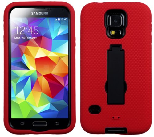 Images for myLife Vibrant Red and Shocking Midnight Black - Shock Suit Survivor Series (Built in Kickstand + Easy Grip Silicone) 3 Piece + 2 Layer Case for NEW Galaxy S5 (5g) Smartphone By Samsung (External Flex Silicone Bumper Gel + Internal 2 Piece Rubberized Snap Fitted Armor Protector + Shock Absorbing Material)