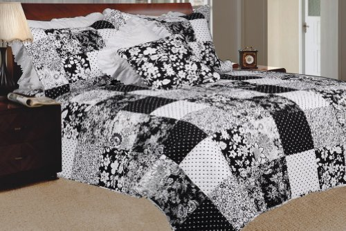 [Brilliant Flowering Season] 100% Cotton 3PC Floral Vermicelli-Quilted Patchwork Quilt Set (Full/Queen Size)