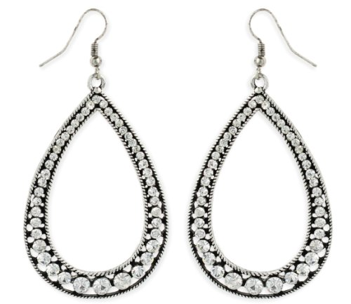 Rhinestone & Silver Metal Teardrop Earrings