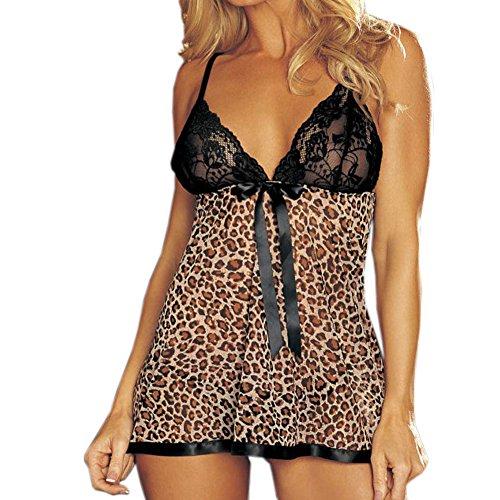 Damen Sexy Babydoll Negligee Dessous Nachtwäsche Minikleid leopard print