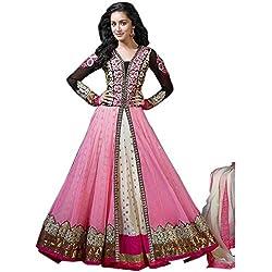 JINI Fashion Women's Net Lace Unstitched Anarkali Suit (nk1138_Pink_Free Size)