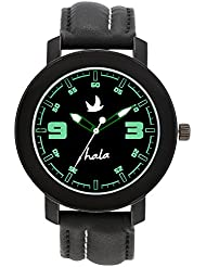 Hala Fashion New HL603 Black Leather Analog Watch - For Boys, Men