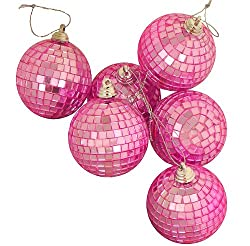 Pack of 6 Pink Mirrored Glass Disco Ball Christmas Ornaments 3.25&quot; (80mm)