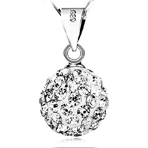 Kredy Platinum-plated Shambhala Drill Ball Droplet Pendant Necklace Necklaces for Girls Women Lover
