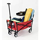 YSC Wagon Garden Folding Utility Shopping Cart,Beach Red