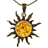 Baltic amber and sterling silver 925 sun pendant necklace jewellery jewelry with inch 14