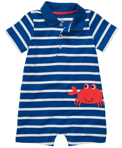 Carters Crab Stripe Polo Romper NAVY 12 Mo