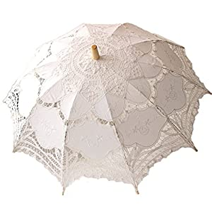 Vintage Style Parasols and Umbrellas White Wedding Lace Parasol Umbrella Victorian Lady Costume Accessory Bridal Party Decoration Photo Props $14.90 AT vintagedancer.com