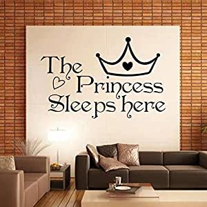 New the princess wall stickers sleeps here home decoration for Wallpaper for bedroom amazon