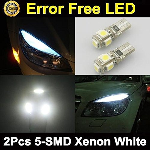 Partsam 2x White 5-SMD Error Free Parking Eyelid Lights T10 T15 158 921 175 920 912 2825 2827 LED Bulbs for Mercedes Benz Audi (1999 Nissan Quest Light Cover compare prices)