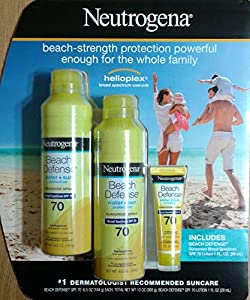 2 Neutrogena Beach Defense Broad Spectrum SPF 70 Sunscreen Spray 6.5 oz each + SPF 70 Lotion 1 oz