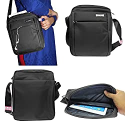 DMG CoolBell CrossBody Sling Bag Carrying Case with Accessory Pockets for Samsung Galaxy Tab 4 10.1 T531 (Black)
