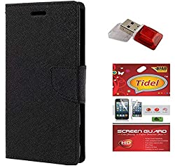 Tidel Premium Table Talk Fancy Diary Wallet Flip Cover Case for Samsung Galaxy J5 (Black) With Tidel Screen Guard & Card Readar