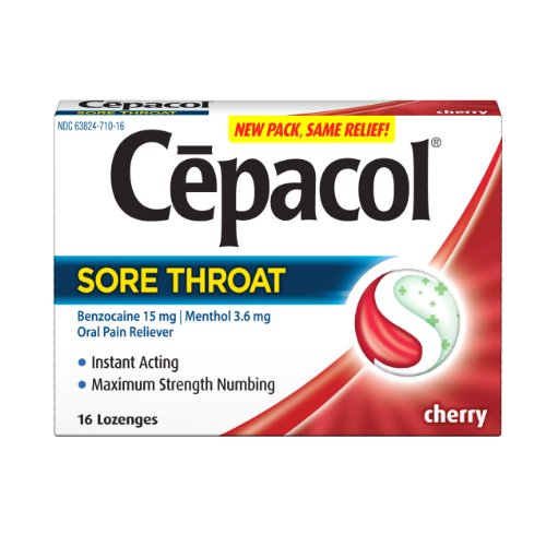 Cepacol Sore Throat Max Numbing Cherry, 16 Count (Pack of 3)