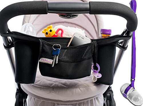 Universal Fit Neoprene Stroller Organizer. Includes 4 Velcro Straps for Maximum Stability. Has 1 Diaper Bag, 2 Cup/Bottle Holders. Includes a Bottle Holder Strap