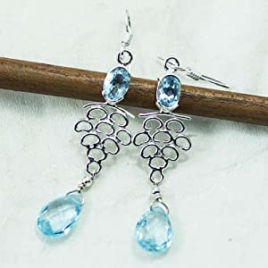 Sizzling Silver Ear Ring With Blue Topaz Gemstone, Approx Size 54Mm - Ser-7013
