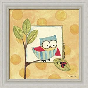 I Like You by Bernadette Deming Whimsical Owl Framed Art Print Wall Decor