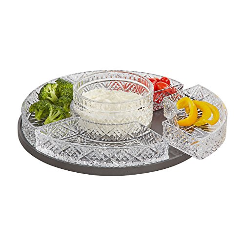 Elegant Crystal Lazy Susan, Beautiful Revolving Appetizer Display, Serving, Chip and Dip Set, Party (Glass Vegetable Tray compare prices)