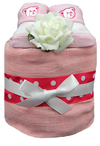 New 1 Tier Pink Nappy Cake With Teddy Socks For Baby Girl - Shower, Maternity Gift