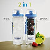 Water Bottle Infuser - 2-in-1 - Large 32 Oz - With Cleaning Brush - BPA Free Plastic & Eco Friendly Rubber Grip with Extra Safe Locking System Prevents Spills & Leaks - Ideal for Running, Cycling, Sport, Travel - Plus Recipes