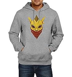 Fanideaz Men's Cotton Bounty Hunter Dota 2 Hoodies For Men (Premium Sweatshirt)_Grey Melange_M