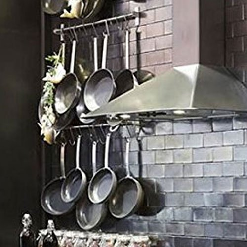 Stainless Steel Gourmet Kitchen Wall Rail and 10 Large S Hooks Set Utensil Pot Pan Lid Rack Storage Organizer (Large Pots And Pans compare prices)