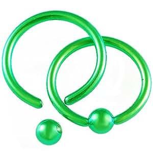 paire acier vert 1 2mmx10mm bcr piercing anneaux labret levre tragus helix oreille cartilage. Black Bedroom Furniture Sets. Home Design Ideas