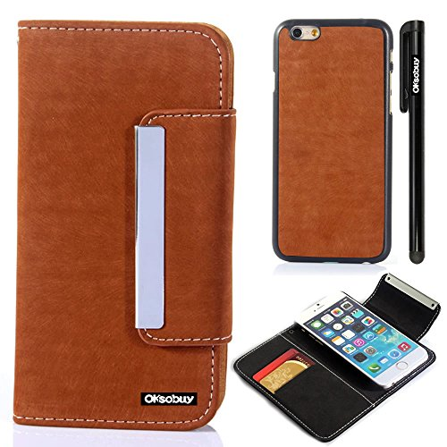 Oksobuy® Apple iPhone6 Plus (5.5 inch) Model High quality and durable Fashion Rat leatherLuxury Designer PU Leather Wallet Type Magnet Split cell phone Holster combo dual-use Combo Flip Case Cover with Credit Card Holder Slots Fit For Apple iPhone6 Plus (Apple Iphone 6 Plus case)with Stylus (Red-Brown Rat leather)