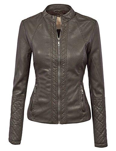 MBJ WJC1025 Womens Faux Leather Inner Fleece Moto Jacket M COFFEE