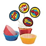 Fun Express Superhero Cupcake Liners With Picks - 100 Pieces