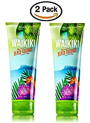 Bath & Body Works Waikiki Beach Coconut Ultra Shea Triple Moisture Body Cream -- Pair of TWO (2) Ultra Shea Body Creams (8 ounce each)