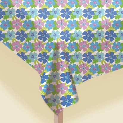 Floral Paradise Cool 54in x 102in Plastic Tablecover - 1